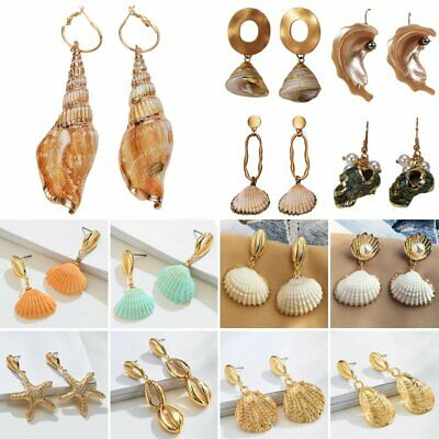 Natural Pearl Shell Conch Dangle Drop Earrings Statement Holiday Women Jewelry