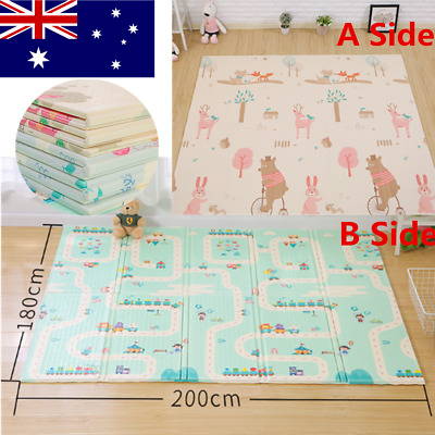 Foldable Baby Kid Floor Play Mat Rug Reversible Infant Mat Waterproof Picnic Mat