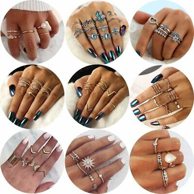 Boho Gold Silver Flower Heart Carved Rings Set Knuckle Finger Midi Ring Jewelry