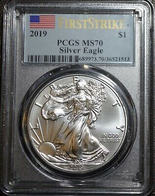2019 $1 American Silver Eagle PCGS MS70 First Strike Flag Label Free Ship