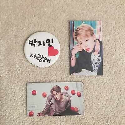 Kpop BTS Bangtan Boys Jimin Japan Pin Badge Set w/ Photocards