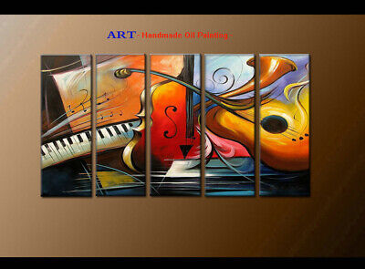 Large MODERN ABSTRACT OIL PAINTING Canvas musical Art Wall Decor Framed FQ4040