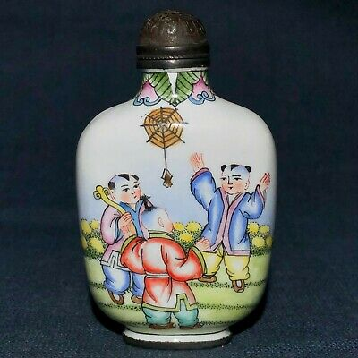 Chinese Old Cloisonne Collectible Antique Handwork Lucky Children Snuff Bottle