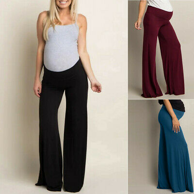 0dc35b4c4910c Women Maternity Loose Solid Wide Leg Straight Pants Pregnant Prop Belly  Trousers