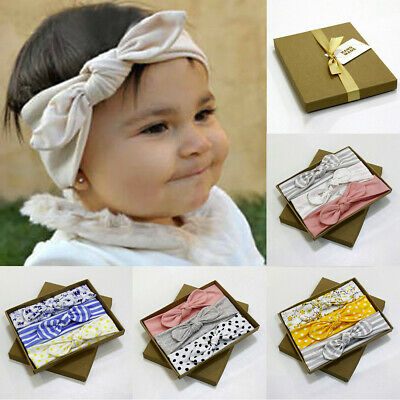 3Pcs Kids Flower Headband Hair Girls Baby Bowknot Accessories Hairband Sets Gift