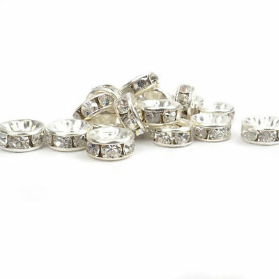 500PCS 8mm Crystal Diamante Rhinestone Rondelle Spacer Beads Silver DH