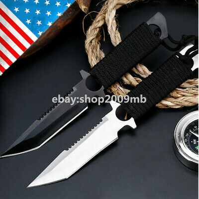 "8"" Fixed Blade Straight Tactical Pocket Hunting Knife EDC Tool Survival Military"