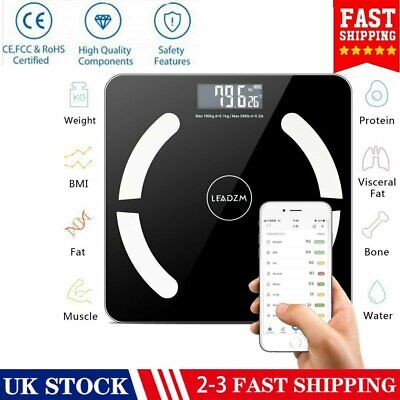 Bluetooth Bathroom Body Fat Scales BMI Bone LCD Weighing Scale For iOS & Android