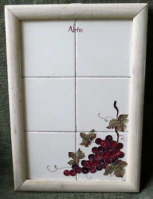 Dry Erase Board White Ceramic Tile Hand Painted Grapes Note Board Kitchen