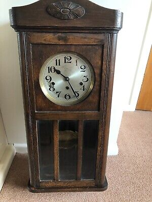 old oak cased westminster chiming wall clock