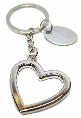 Engraved / personalised metal heart (large) keyring in velvet gift pouch BR570