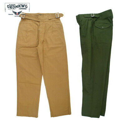 Vintage Gurkha Mens Casual Pants UK Army Bermuda Khaki Trousers Loose Fit Pants