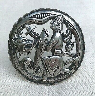 Large Antique Norwegian Silver 830s Marius Hammer Dragon Dragestil Brooch Pin