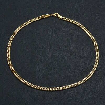 Men Women Gold Tone Solid 316L Stainless Steel Curb Choker Necklace Chain Gift
