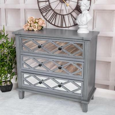 Grey Mirrored Chest Of Drawers Wooden Glass Storage Bedroom Hallway Vintage Chic