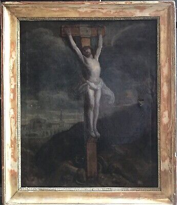 Fine Quality 18Th Century French Old Master Oil Painting - The Crucifixion