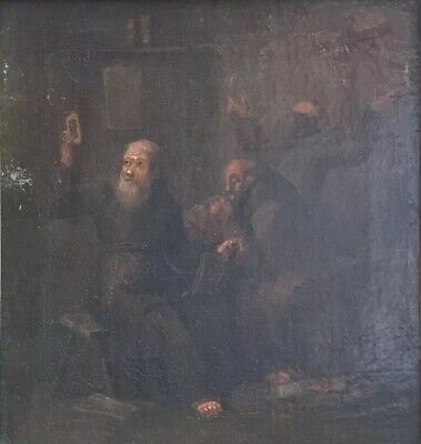 Fine 18Th Century Dutch Oil Painting - Interior Scene With Monks - Framed