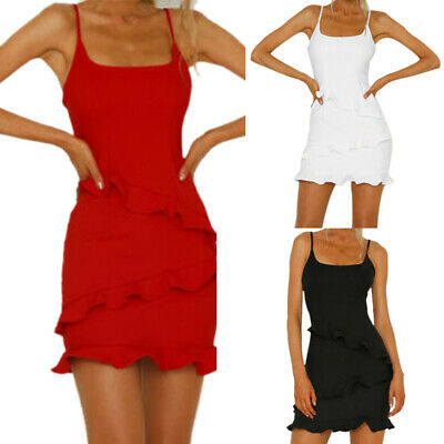 Womens Ruffle Frill Strappy Holiday Party Bodycon Summer Beach Short Mini Dress