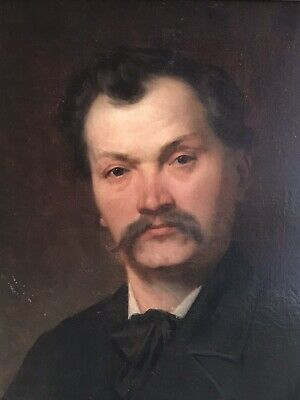 Fine 19Th Century French Oil Painting - Portrait Of A Gent With Moustache
