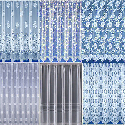 Net Curtains. White. Choice of 6 Designs. Sold and Priced By The Metre