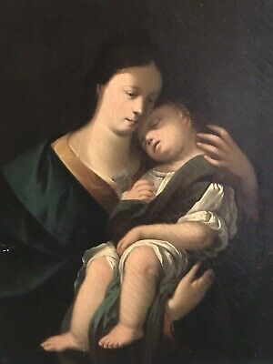 Fine 19Th Century French Oil Painting - The Madonna And Infant Christ Child
