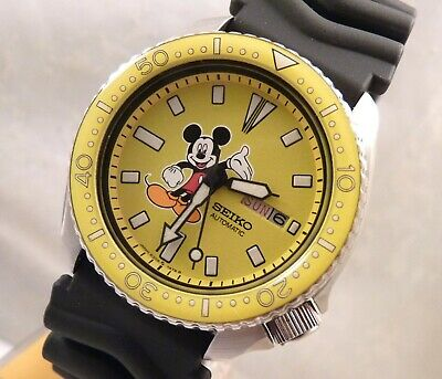 Seiko Yellow Ceramic Mickey Mouse Automatic Day Date Diver's Watch Custom 6309