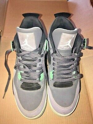 b4382a8a1feaf0 NIKE AIR JORDAN IV 4 Retro 308497-033 Dark Grey Green Glow-Cement ...