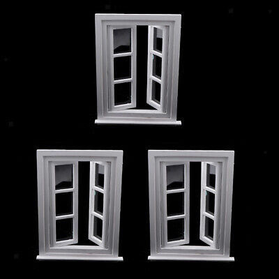 3x Miniature White Wooden Window Furniture for 1/12 Dolls House Decoration