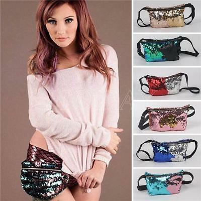 Women Fanny Pack Mermaid Outdoor Travel Crossbody Hip Bag Colorful Waist Pack AL