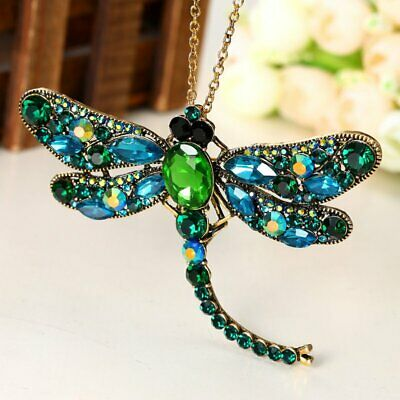Vintage Women Crystal Green Dragonfly Brooch Pin Pendant Necklace Long Chain Hot