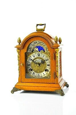Superb Vintage Hermle Mid Century Mantel Clock Brass Moon phase,Top Condition!!