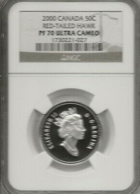 2000 Canada Fifty Cents Red Tailred Tai Hawk  Ngc Pf-70 Uc   Finest Graded