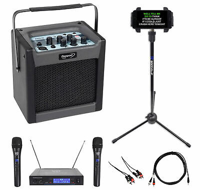 "FENDER PASSPORT MINI 6.5"" Karaoke Machine System+(2) Wireless Mics+Tablet Stand"