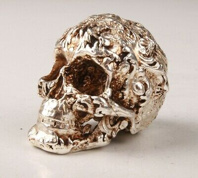 Rare Chinese Tibetan Silver Hand-Carved Skull Statue Figurine's Old Collection