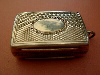 Solid Sterling Silver English Hallmarked Birmingham Date 1860 Vinaigrette Case