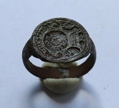 Authentic Medieval Crusaders Era Bronze Heraldic Seal Ring - Wearable