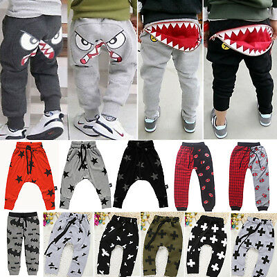 Kids baby Boys Harem Pants Baggy Long Trousers Sweat Joggers Slacks Sportswear