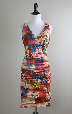 a36598c0edae NICOLE MILLER Vibrant Watercolor Floral Ruched Shirred Pleated Dress Size 6