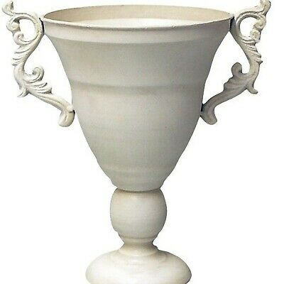 Floristry metal white Urn container romantic narrow style fancy 18.5 x 27cm