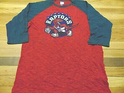 Majestic Nba Hwc Toronto Raptors Red 3/4 Sleeve T-Shirt Size L