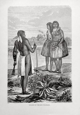 Face Tattoo Indians Of Rio Colorado Native Americans Antique Engraving 1870