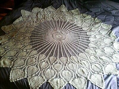 """Round Tablecloth,Hand Crocheted,Pineapple Design,Cotton,Ivory,metallic green 68"""""""
