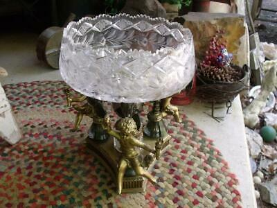 Stunning Hand Cut Lead Crystal Bowl Compote Orig Tag West Germany L & L W M Mk