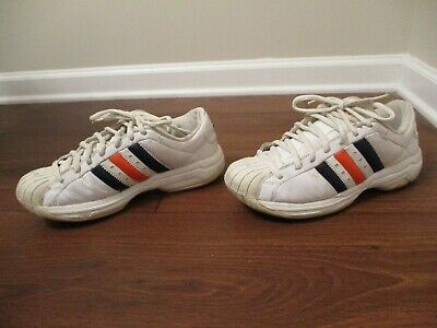 92763430c23 Classic 2002 Used Worn Size 9.5 Adidas Superstar 2G Shoes White Navy Orange  SS2G