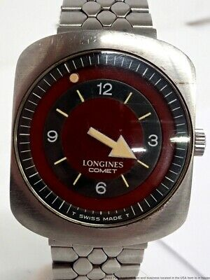 Vintage Longines Comet Red Grey Rotating Mystery Dial 8472 Mens Watch 702cal 17j