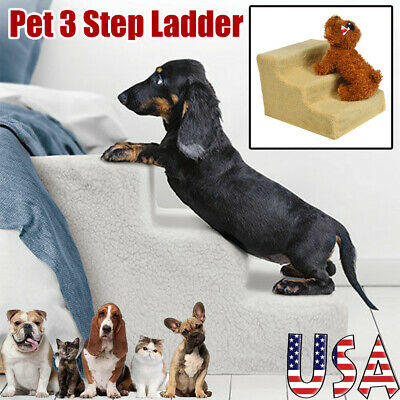 Portable Pet 3 Step Stairs Climb Ramp Animal Cat Dog Ladder Couch Bed with Cover