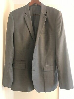 Preowned Express Mens Fitted Blazer Sport Coat 2Button Jacket 100% Sz 42L - Gray