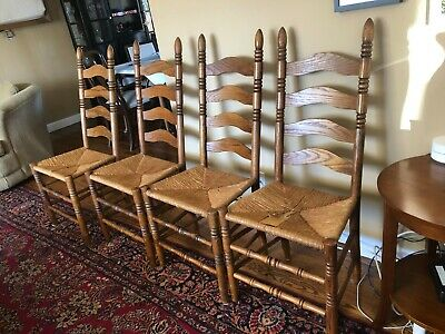 Vintage Oak Ladder back Rush/Cane Seat Chairs Set of 4