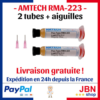 AMTECH RMA-223 flux soudure etamer braser LOT 2x tube pâte 10ml