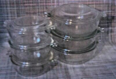 6 Pyrex Clear Individual Casseroles with Lids